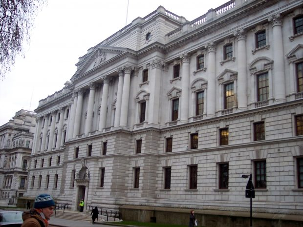 The front of the Treasury building at 1 Horse Guards Road, London., where the Open Innovation Team is based.