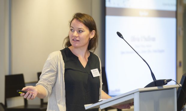 Olivia O'Sullivan, the author of the blog, giving a presentation in The Hague.