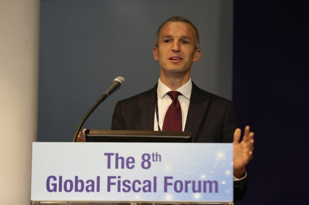 Chris Webber, the head of the Open Innovation Team, speaking at the 8th Global Fiscal Forum in Seoul, Korea.